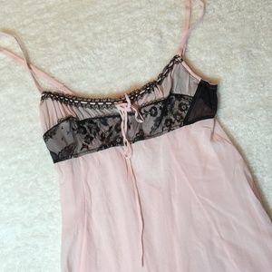Victoria's Secret Sheer Pink Black Silk Nightie M